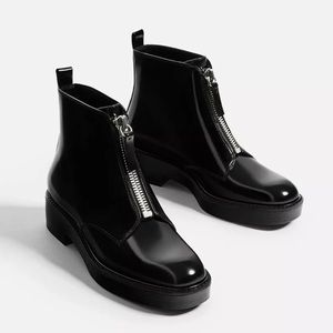 NWT Zara Front Zip Up Ankle Boots